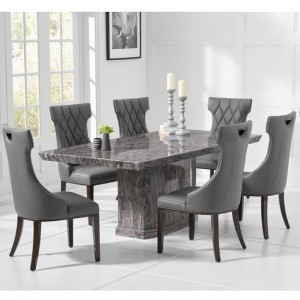 Carvelle Small Marble Dining Table In Grey With 4 Rome Grey Chairs