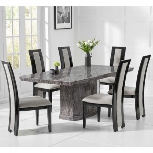 Carvelle Small Marble Dining Table In Grey With 4 Venezia Chairs