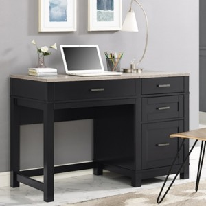 Carver Wooden Lift-Top Computer Desk In Black And Weathered Oak