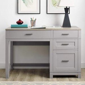 Carver Wooden Lift-Top Computer Desk In Grey And Weathered Oak