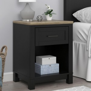 Carver Wooden Bedside Table In Black And Weathered Oak