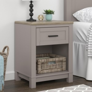 Carver Wooden Bedside Table In Grey And Weathered Oak