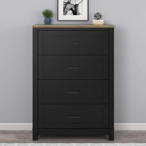 Carver Wooden Chest Of Drawers In Black And Weathered Oak With 4 Drawers