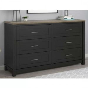 Carver Wooden Chest Of Drawers In Black And Weathered Oak With 6 Drawers
