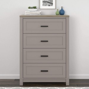 Carver Wooden Chest Of Drawers In Grey And Weathered Oak With 4 Drawers