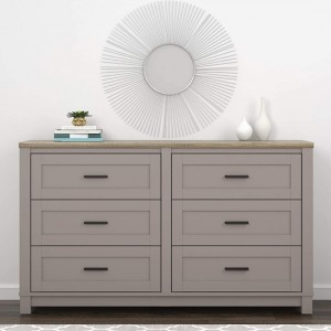 Carver Wooden Chest Of Drawers In Grey And Weathered Oak With 6 Drawers