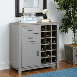 Carver Wooden Wine Cabinet In Grey And Weathered Oak