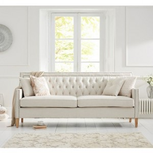 Casa Bella Fabric Upholstered 3 Seater Sofa In Ivory