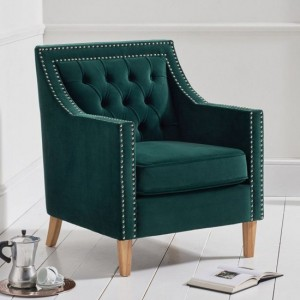 Casa Bella Plush Fabric Upholstered Bedroom Chair In Green