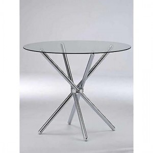 Casa Clear Glass Dining Table With Chrome Metal Legs