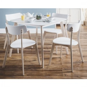 Casa Wooden Dining Table In Matt White And Lime Oak With 4 Chairs