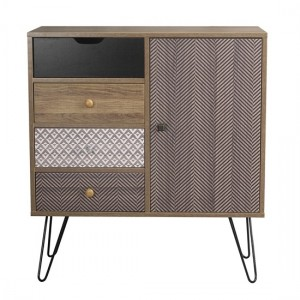 Casablanca Small Woden Sideboard In Oak With 1 Door And 4 Drawers
