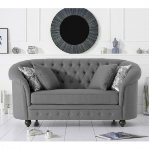 Casey Chesterfield Fabric Upholstered 2 Seater Sofa In Grey