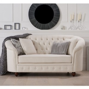 Casey Chesterfield Fabric Upholstered 2 Seater Sofa In Ivory