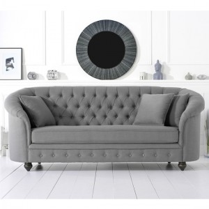 Casey Chesterfield Fabric Upholstered 3 Seater Sofa In Grey