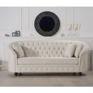 Casey Chesterfield Fabric Upholstered 3 Seater Sofa In Ivory