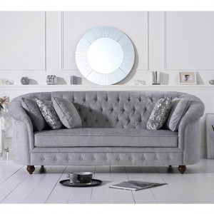 Casey Chesterfield Plush Fabric 3 Seater Sofa In Grey