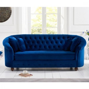 Casey Chesterfield Plush Fabric Fabric 3 Seater Sofa In Blue