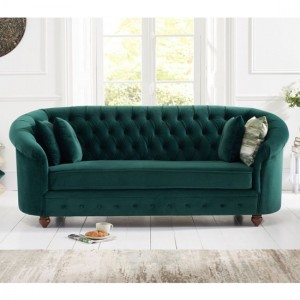 Casey Chesterfield Plush Fabric Fabric 3 Seater Sofa In Green