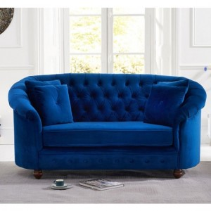 Casey Chesterfield Plush Fabric Upholstered 2 Seater Sofa In Blue