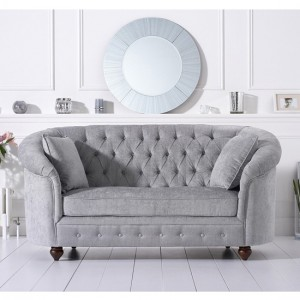 Casey Chesterfield Plush Fabric Upholstered 2 Seater Sofa In Grey