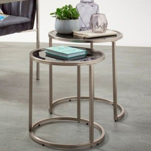 Casey Tempered Glass Top Nest Of Table Satin Nickel Frame