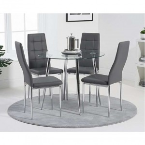 Daytona Dining Table Round In Clear Glass With 4 Dora Dining Chairs