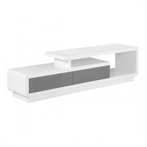 Cavalier Wooden TV Stand In White And Grey High Gloss