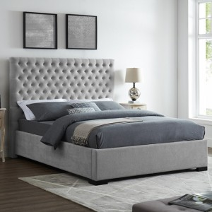 Cavendish Fabric Upholstered King Size Bed In Grey