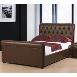 Caxton Faux Leather Storage Double Bed In Brown