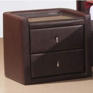 Caxton PU Leather Wooden Bedside Cabinet In Brown