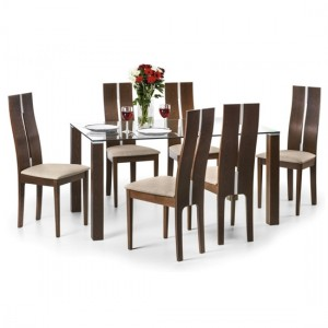 Cayman Clear Glass Dining Table With 6 Walnut Chairs