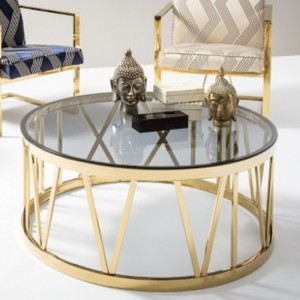 Cecilia Smoked Glass Coffee Table With Polished Golden Frame