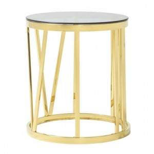 Cecilia Smoked Glass Top Lamp Table With Polished Golden Frame