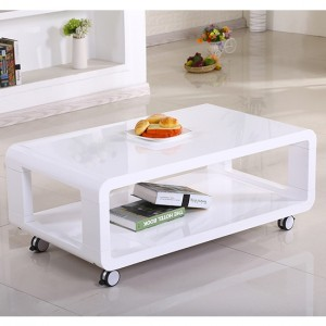 Cedar Wooden Coffee Table In White High Gloss