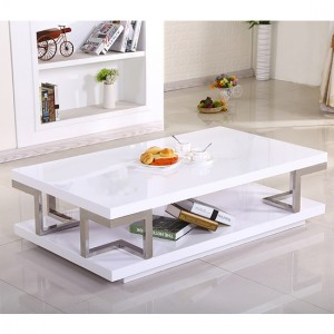 Celtic Wooden Coffee Table In White High Gloss With Stainless Steel Legs