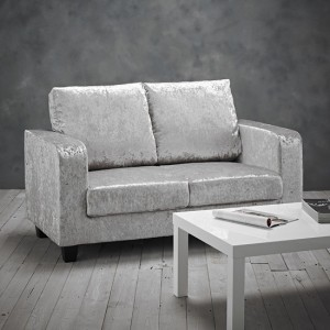 Centuri Crushed Velvet Upholstered 2 Seater Sofa In Silver