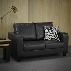 Centuri Faux Leather 2 Seater Sofa In Black