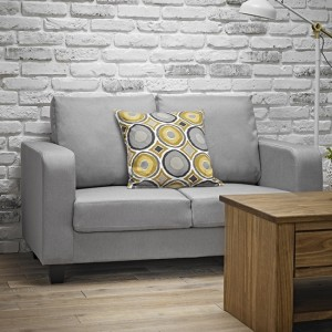 Centuri Linen Fabric Upholstered 2 Seater Sofa In Grey