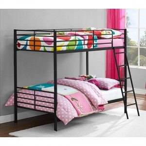 Chadre Metal Convertible Single Over Single Bunk Bed In Black