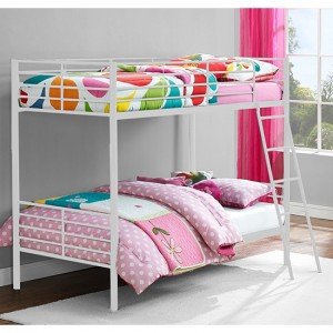 Chadre Metal Convertible Single Over Single Bunk Bed In White