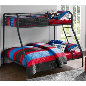 Chadre Metal Single Over Double Bunk Bed In Black