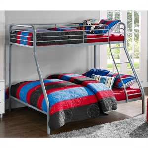 Chadre Metal Single Over Double Bunk Bed In Silver And Grey