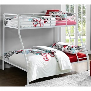 Chadre Metal Single Over Double Bunk Bed In White