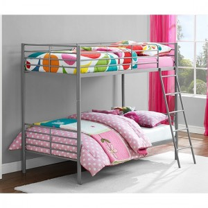 Chadre Metal Single Over Single Bunk Bed In Silver And Grey