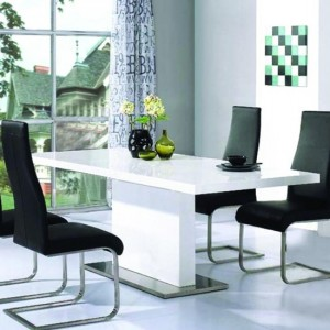 Chaffee Wooden Dining Table In White High Gloss
