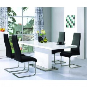 Chaffee Wooden Dining Set In White High Gloss With 4 Chairs