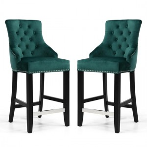 Chandler Ring Back Green Brushed Velvet Bar Chair In Pair