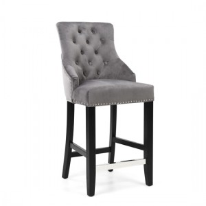 Chandler Ring Back Brushed Velvet Bar Chair In Grey