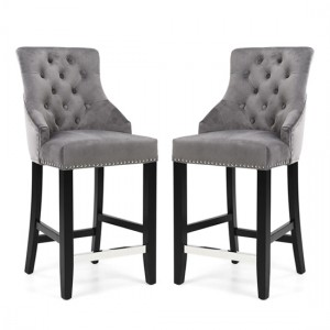 Chandler Ring Back Grey Brushed Velvet Bar Chair In Pair